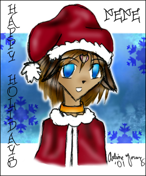 Arline drew another NeNe, this time a blue-eyed ganguro christmas NeNe?